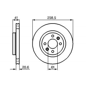 FRONT VENTED BRAKE DISC - 259MM DIAMETER