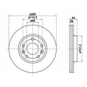 FRONT VENTED BRAKE DISC - 280MM DIAMETER