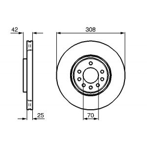 FRONT VENTED BRAKE DISC - 308MM DIAMETER