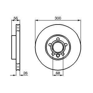 FRONT VENTED BRAKE DISC - 300MM DIAMETER X 26MM
