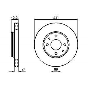 Front Vented Brake Disc - 281mm Diameter