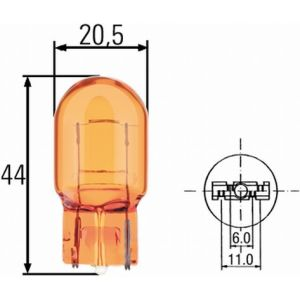 12V 582A 21W W3X16D CAPLESS AMBER BULB
