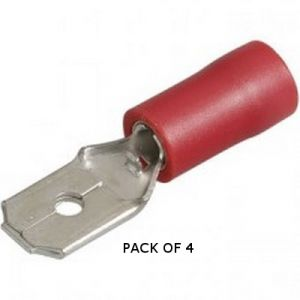 SPADE CONNECTOR MALE - RED - X 4